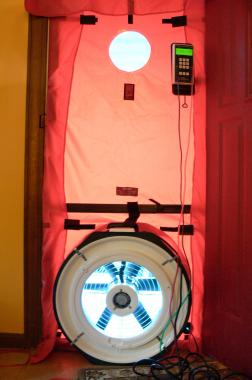Blower Door used to measure air infiltration in the home