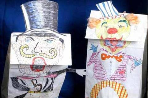 "The Ringmaster and the Clown start in ""Florachica Joins the Circus"" paper bag puppet th"